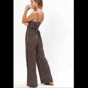 Lottie Moss Pants - Lottie Moss tie front navy striped jumpsuit
